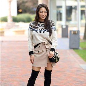 Brand new w/o tags, khaki mini skirt with tie